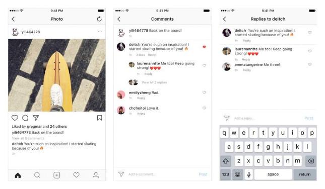 Hilos de comentarios y respuestas en Instagram