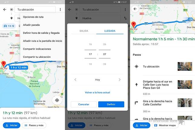 Google Maps calcula rutas en función del tráfico