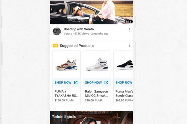 YouTube añade anuncios de compra en el feed principal