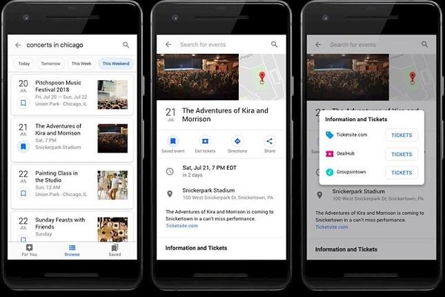 Google mejora la función de eventos cercanos añadiendo información relevante