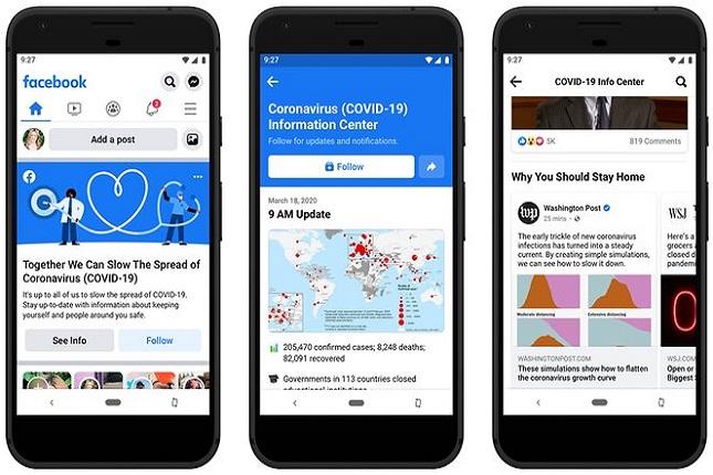 Facebook regula la desinformación lanzando notificaciones y una nueva sección sobre Covid-19