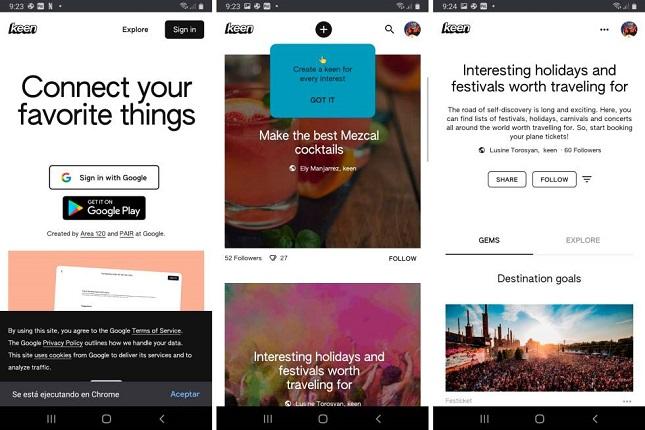 Google presenta su app Keen, una imitación a Pinterest para encontrar contenidos favoritos