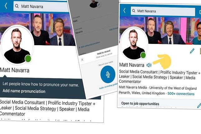 LinkedIn te permite grabar en audio cómo se pronuncia tu nombre