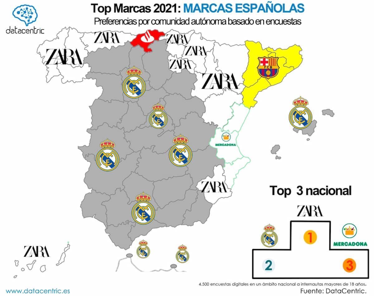 mapa marca mas influyente de España Zara